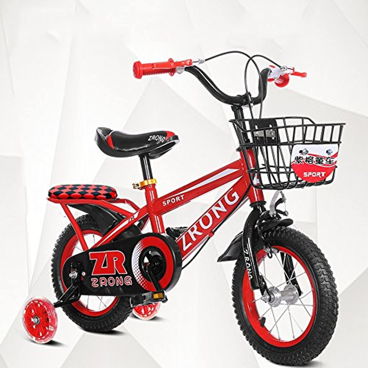 ZHIRONG Kinderfahrrad Blaues, Rotes Gelb Gren  12 Zoll, 14 Zoll, 16 Zoll, 18 Zoll Outdoor-Ausflug ( Farbe   Rot , gre   12 inch )