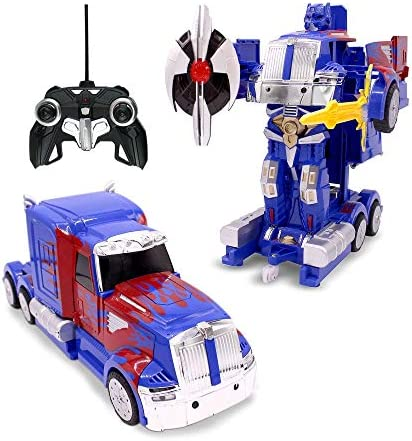 Family Smiles RC Toy Car Truck Transforming Robot Kids 8 - 12 years Remote Control Vehicle 1:14 Scale Blue