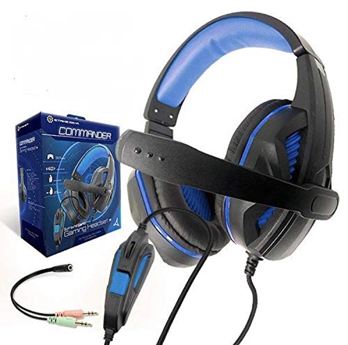 Strike Gear Commander Compatible with Xbox One, PS4, PC, Nintendo Switch, Surround Stereo Gaming Headset with Soft Ear Pads, Swivel Microphone, Noise Cancellation and Strong Bass. (Adapter Included)