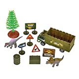 Kicko 11 Piece Dinosaur Playset - Explorer theme Dino Park Miniatures - Realistic Plastic Figures for Play Pretend - Assembly Toys for Kids- Birthday and Party Souvenir