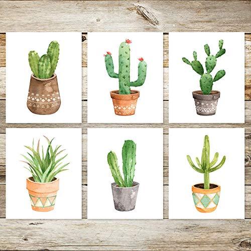 6 Boho Succulent Cactus 8x10 Watercolor Art Prints