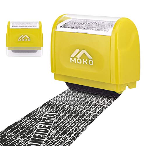 MoKo Sello Personalizado de Tipo de Rodillo, Sello Privado de Protección de Identidad, Sello Autoentintable Personalizado con Agujero de Tinta para Ocultar Información Privada y Confidencial, Amarillo