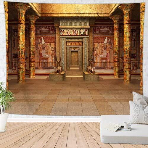 KHKJ Tapiz Decorativo Egipcio Antiguo, Alfombra Retro exótica, Dormitorio Familiar, decoración de Pared, Mural Egipcio A6, 180x200cm