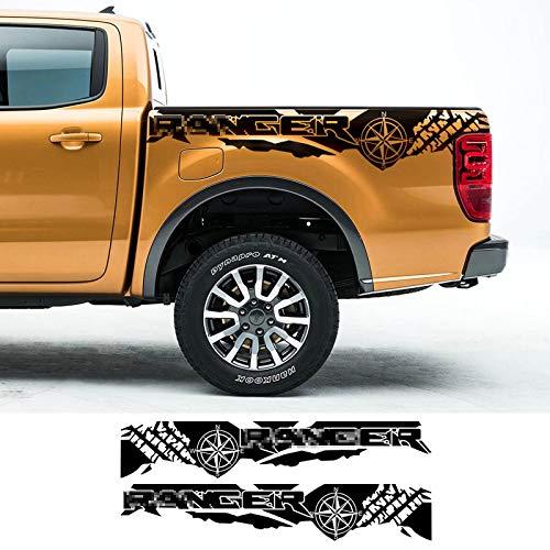 YKANZS 2 uds Pegatinas de Coche con Estampado de neumáticos brújula Aventura Todoterreno Auto Tail Vinilo gráficos calcomanía, para camioneta Ford Ranger Raptor