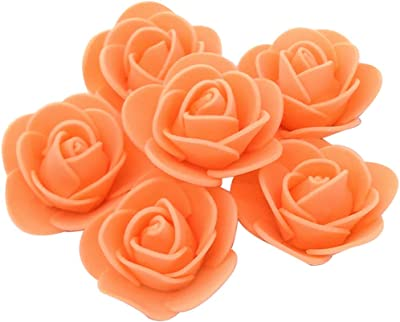 Delush Design Artificial Foam Flowers Jewellery Making Craft Decoration -(Pack of 100 pcs, Orange)