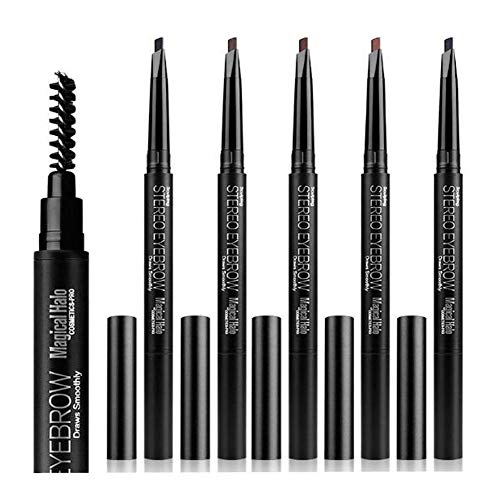 ASKSA Augenbrauenstift,Eyebrow pencil,Wasserfest, Wischfester,Tattoo Brow Augenbrauenfarbe Make-Up Spitzenpinsel,Eyebrow brush(Dunkelbraun)
