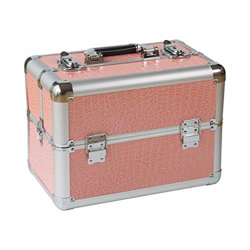 N&BF kleiner Profi Kosmetikkoffer in Pink | Robust dank ABS Kunststoff & hochwertigen Alu | Abschließbares Beautycase mit 2 Etagen | Aufklappbare Fächer & Schultergurt