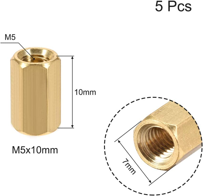 uxcell M6x50mm Female-Female Hex Brass PCB Motherboard Spacer Standoff for FPV Drone Quadcopter Computer /& Circuit Board 5pcs