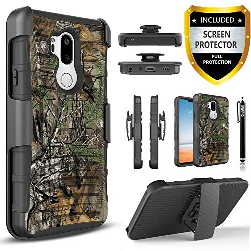 Circlemalls T-Mobile Revvl 2 Plus Case, Alcatel 7 Phone Case, Alcatel 7 Folio Case, with [Premium Screen Protector] Heavy Duty Rugged Belt Clip Phone Case with Built-in Kickstand and Stylus Pen-Camo