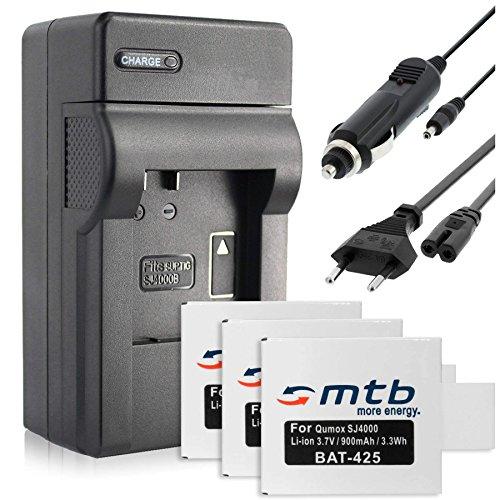 3X Baterìas + Cargador (Coche/Corriente) para Qumox SJ4000, SJ5000 / SJCam M10 / BOOMYOURS. v. Lista!