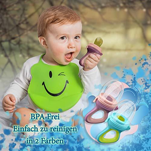 2 Fruchtsauger Baby + 1 Baybylöffel für Baby ab 3 Monate & Kleinkind + Zertifikat + 6 Silikon-Sauger in 3 Größen – BPA-frei – Schnuller Beißring für Obst Gemüse Brei Beikost + Gratis Ebook - 5