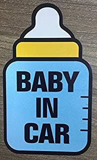 Brightt Set of x2 Baby On Board Safety Stickers for All Cars Trucks SUV (Work for All Type Bumpers/Window) Premium Quality (Light/Night time Reflective) Safety Caution Vinyl Decal Sign (Design 6)