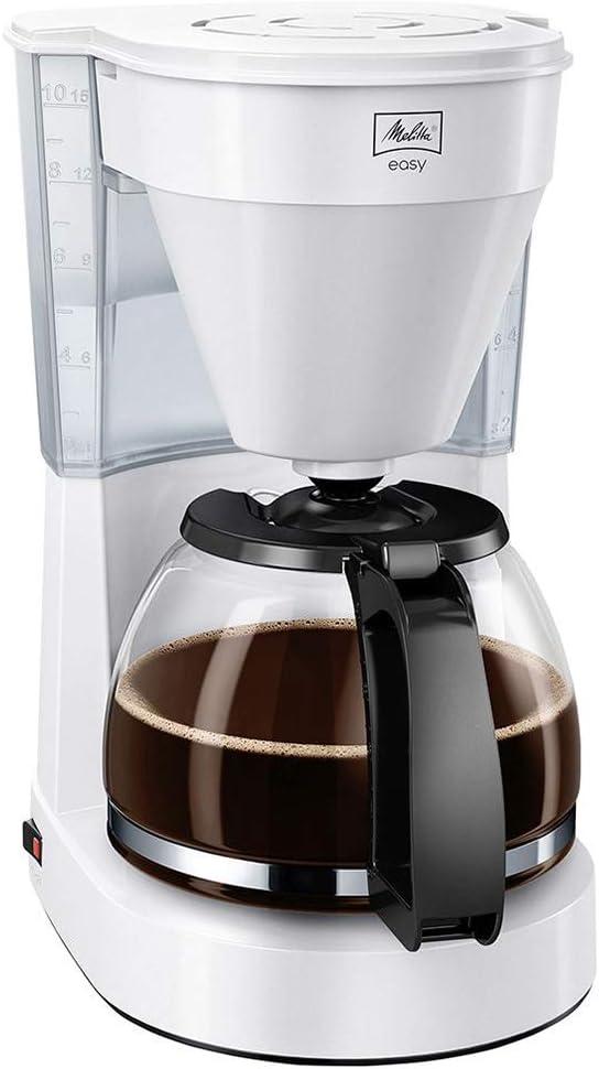 Melitta Easy Cafetera de Filtro con Jarra de Vidrio, Capacidad 10 Tazas (125 ml), 1050 W, 1.25 litros, plástico, Blanco