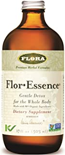 Flor Essence Detox Liquid Tea 17 Oz - Gentle Daily Herbal Cleanse - All Natural 90% Organic Ingredients - by Flora