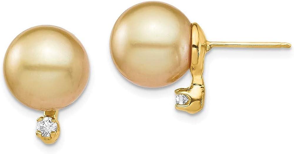 14K Yellow Gold 9-10mm En Saltwater Cultured South Sea Pearl .10Ct Diamond Ball Earrings