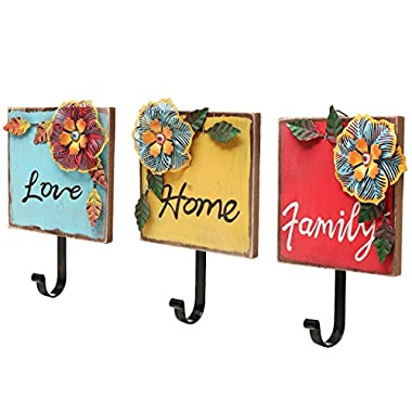 Family, Home, Love  Wood & Metal Tropical Flowers Wall Coat / Key Hooks (Set of 3: Red / Yellow / Blue)