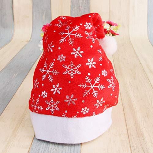 dfhdrtj Functionele Kerstman muts rode pet voor kerstman fluweel kostuum nieuwe partij Decor wit goud sneeuwvlok ZILVER