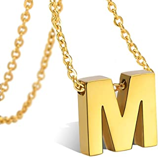 Alphabet Monogram Initial Letter Necklace 316L Stainless Steel for Girls Women Teens Gold Script Wedding Name Jewelry Adjustable Chain 18