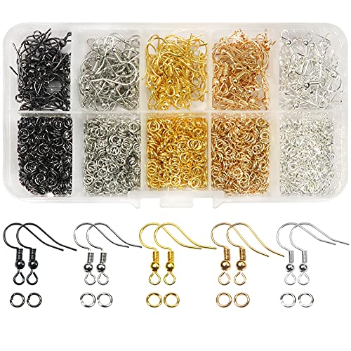 TOAOB 150pcs 5 Colors Earring Hooks Kit Hypoallergenic Ear Wires and 1000pcs Jump Rings for Earrings Making Jewelry Making Findings