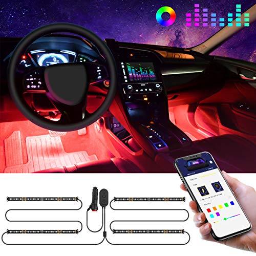 Govee LED Innenbeleuchtung Auto, 4pcs 48 LED Auto LED Strip, Upgrade Zwei-Linien-Design, Wasserdicht Beleuchtung APP Steuerbare mehrfarbig Musik Innenbeleuchtung mit Zigarettenanzünder, 12V