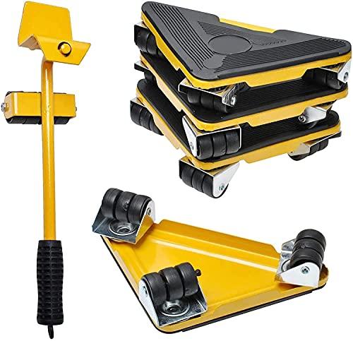 Elevador Muebles Pesados con 4 Deslizadores Kit de Herramientas de Muebles de Pesados de Máximo Carga 300KG/660 Libras para Mover sofás, Refrigeradores por Poweka (amarillo)