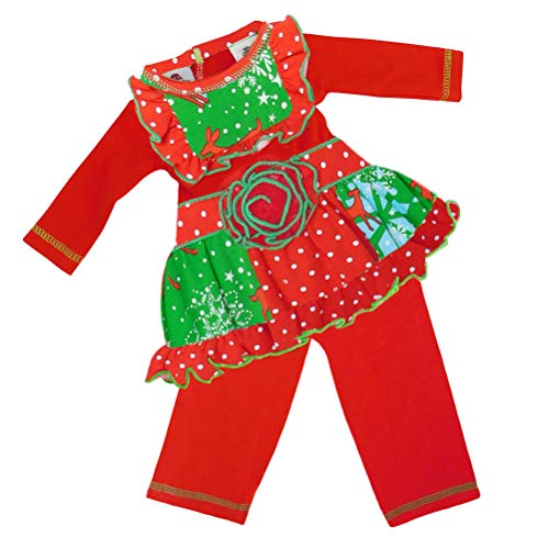 AnnLoren Red Reindeer Christmas Holiday 2 Piece Outfit for Dolls
