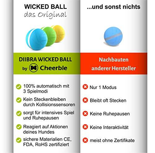 DIIBRA Wicked Ball - Juguete interactivo para perros muy resistente (verde)