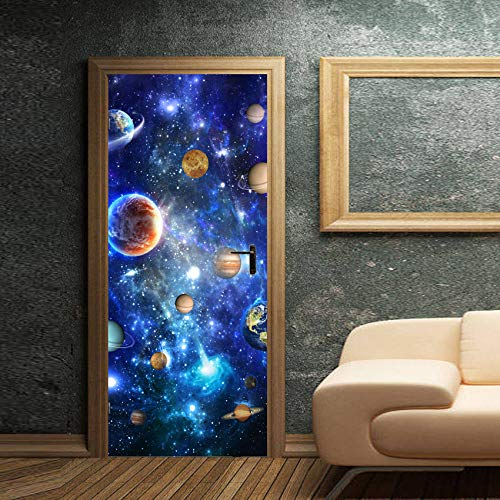 FANGDUHUI 3D Door Sticker,Waterproof Diy Door Decal Creative Universe Starry Planet Refurbish Door Stickers Door Mural Wall Stickers Wallpaper For Home Child Bedroom Decor,90×200Cm