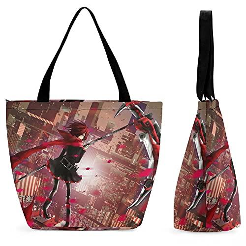 RWBY - Bolsa de compras para mujer, bolso de hombro, gran capacidad, moda, conveniente, plegable, trabajo, escuela, viajes