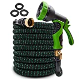 2020 Upgraded Expandable Garden Hose 100ft Retractable Water Hose Flexible Garden Hose with 3/4' Solid Brass Connectors, 9 Modes Spray Nozzle, Ideal Choice for Watering and Washing