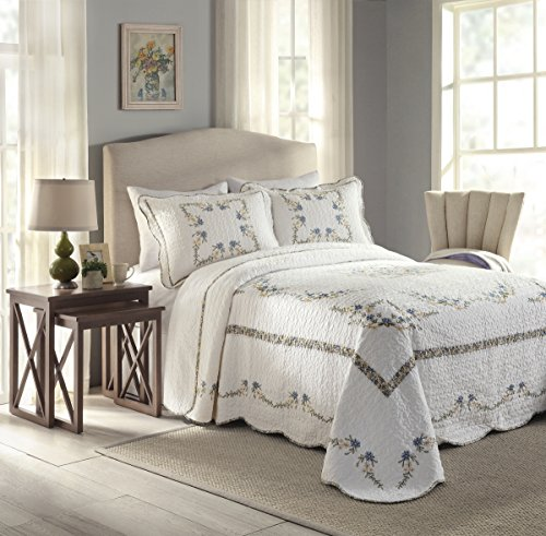 Modern Heirloom Collection Heather Cotton Filled Bedspread, King, 120 by 118-Inch