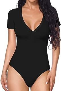 MANGOPOP Womens Modal V Neck Short Sleeve/Long Sleeve Bodysuit Jumpsuit