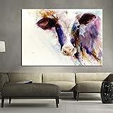 Moderne nordische Kunst abstrakte Aquarell Blaue Kuh Tier