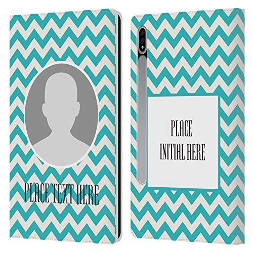 Head Case Designs Personalizada Individualizada Zigzag Modelo Carcasa de Cuero Tipo Libro Compatible con Samsung Galaxy Tab S7 5G