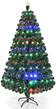 Goplus Artificial Christmas Tree Pre-Lit Optical Fiber Tree 8 Flash Modes W/UL Certified Multicolored LED Lights & Metal Stand (7 FT)