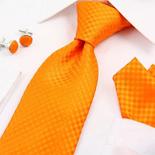 WUNDEPYTIE Krawatte Polyester Herren Business Kleid Hochzeitsgeschenk-Set, Orange}