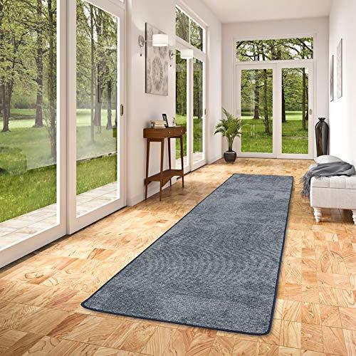 Snapstyle Streifenberber Teppich Läufer Lines Blau Meliert in 9 Größen