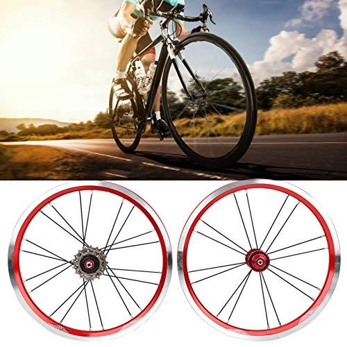 Gatuxe Juego de Llantas de Bicicleta, Juego de Ruedas de Bicicleta de 16 Pulgadas, Delantero de 74 mm para Bicicleta Vieja Rota(Red)