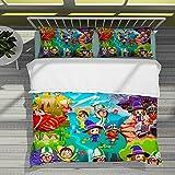 Miitopia - Juego de ropa de cama para niños, diseño de signo MII para retratos de la versión Q. Juego de funda nórdica de microfibra, suave estilo de fan del juego (240 x 220 cm + 50 x 75 cm x 2)