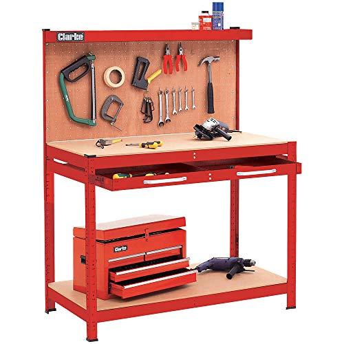 Clarke CWB-R1B Werkbank mit Stecktafel an der Rückwand und großer Schublade, rot