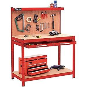 Clarke CWB-R1B - Banco de trabajo con panel posterior y cajón grande, color rojo