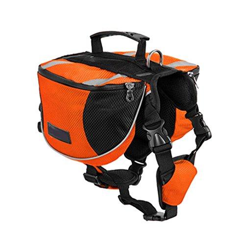 Yiiquanan Hund Rucksack Verstellbar Pack Mittelgroße & Large Hunderucksack für Wandern Camping Reise (Orange#2, Asia M)
