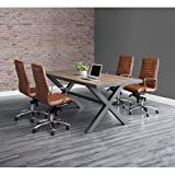 Rivet Conference Table 96'W x 42'D Weathered Oak/Charcoal Painted Steel