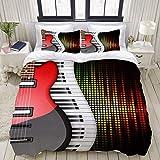 Rorun Juego de Funda nórdica, Teclas de Piano de Fondo, música de Guitarra eléctrica, Juego de Cama Decorativo Colorido de 3 Piezas con 2 Fundas de Almohada