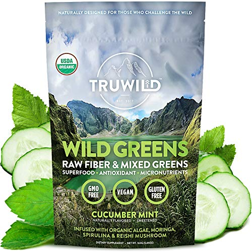 TRUWILD WILD GREENS Certified Organic Green Superfood Adaptogen Powder - 22+ Amazing Organic Foods - Reishi, Ashwagandha, Maca, Moringa, Wheatgrass, Bitter Melon - with Immune Support & Natural Flavor