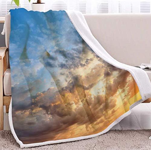 CTBIOM Milchstraße Decken für Bett Kiefer Wald leinen Decke Sonnenuntergang Wolken werfen Decke Cumulus Sky tagesdecken 150x200 cm