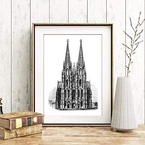 Din A4 Kunstdruck ungerahmt - Kölner Dom Köln Kirche Wahrzeichen Stich Antik Retro Druck Poster Bild