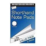 3x Taquigrafía libreta bloques notebook bloque de líneas Top espiral espiral valor Car...