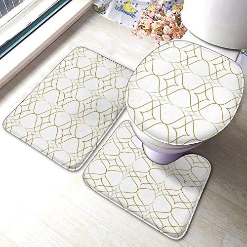 Juego de alfombras de baño antideslizantes de 3 piezas Jay Gatsby, almohadillas antideslizantes para sala de estar, alfombrilla de baño + tapa de inodoro