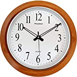 LYONIC Made in India President Analog Quartz Plastic Official Designer Big Size Wall Clock for Home, Hall, Office (42 X 42 Cms, Wood and White)